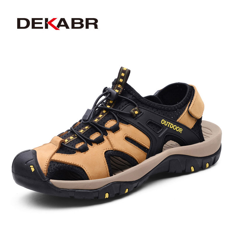DEKABR Genuine Leather Men Sandals New Summer Men Shoes Beach Sandals For Man Fashion Brand Outdoor Casual Shoes Walking Flats