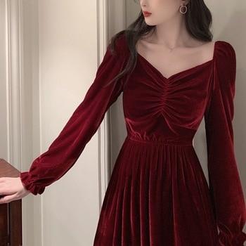 2020 Women Dress French Soild Color Long Velvet Silm Spring Autumn Fashion Female Sleeve Retro Elegant Casual
