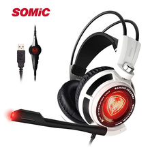 Somic G941 7.1 Sound Vibration Gaming Headset Stereo Bass Noise Cancelling Headphones with Mic LED Light USB Plug for PC Games somic g941 headphones for computer gaming headset with microphone wired usb bass headphone for pc