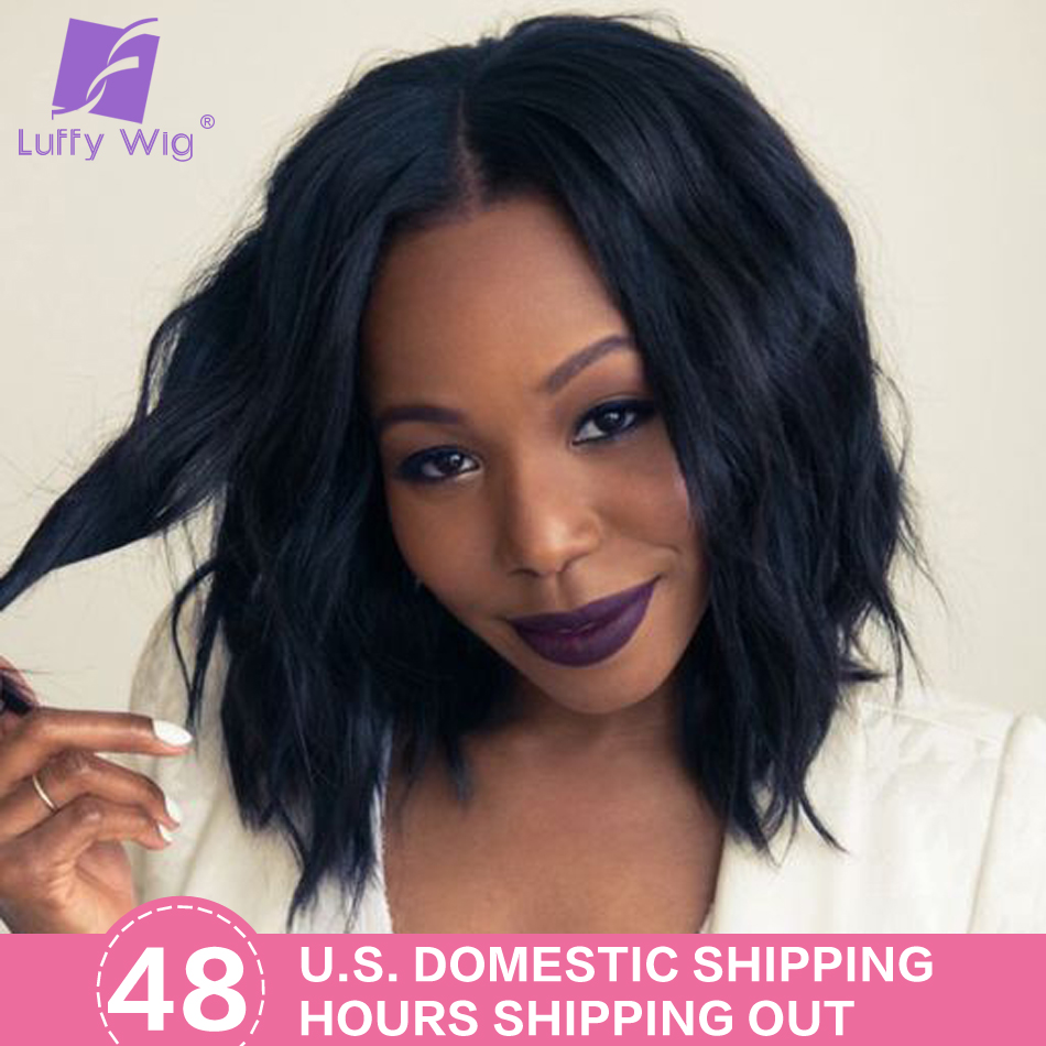 13x6 Short Bob Lace Front Wigs Human Hair Water Wave Brazilian Remy Natural Black Pre Plucked Bleached Knots For Women Luffy
