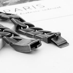 Image 2 - 20mm geniş 316L paslanmaz çelik siyah renk bilezik erkek bileklik Cut Rombo çift Curb bağlantı buda bilezik hediye takı