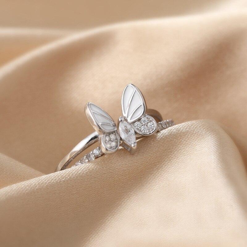 XIYANIKE 925 argent Sterling coréen blanc trois dimensions papillon Zircon Double anneau ensemble Unique conception insecte combinaison 2