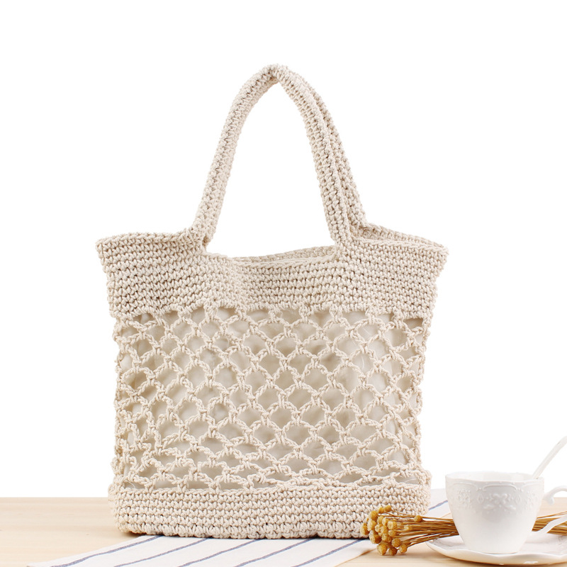 Lovevook Women Handbags Woven Bags Summer Beach Bags Large Tote Shoulder Bag For Travel/shopping Cotton Rope Bohemia 2020 Hollow