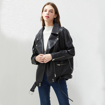 Fitaylor PU Faux Leather Jacket Women Loose Sashes Casual Biker Jackets Outwear Female Tops BF Style Black Leather Jacket Coat