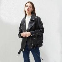 Fitaylor PU Faux Leder Jacke Frauen Lose Schärpen Casual Biker Jacken Outwear Weibliche Tops BF Stil Schwarz Leder Jacke Mantel