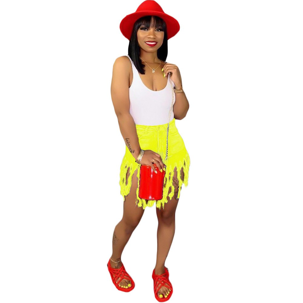 Tassels Patchwork Casual Denim Shorts Solid Women Beach High Waist Short Jeans Streetwear Club Party Bodycon Shorts