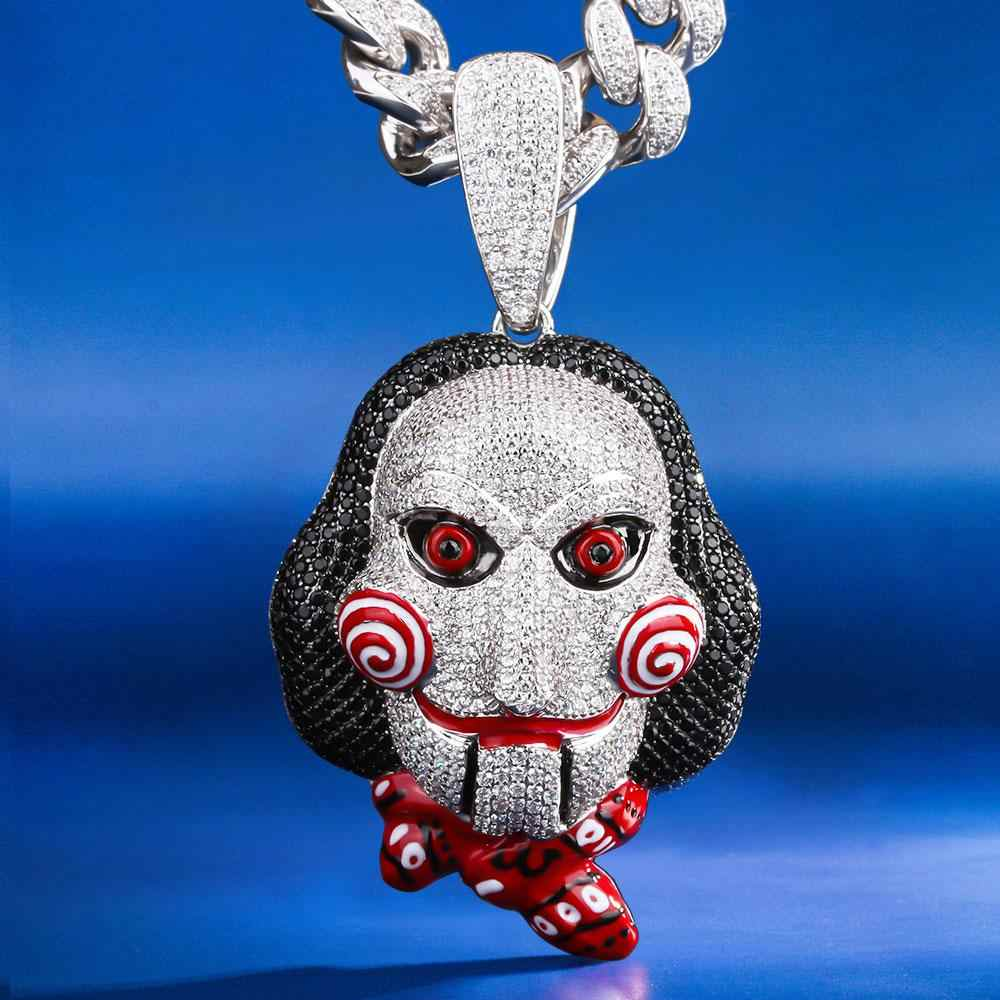 Dnschic iced out 69 jigsaw killer 펜던트 clown joker pendant for chainsaw madman 펜던트 69 펜던트 힙합 펜던트 남성 여성