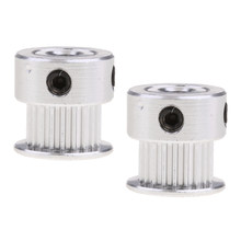 2 Pieces 2GT 20T 5mm Bore Aluminum Pulley Gear Wheel for 3D Printer Timing Belt Silver(China)