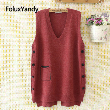 Buttons Knitted Vest Women Sleeveless Casual V-neck Plus Size Vests Red Blue Black KKFY4372 1