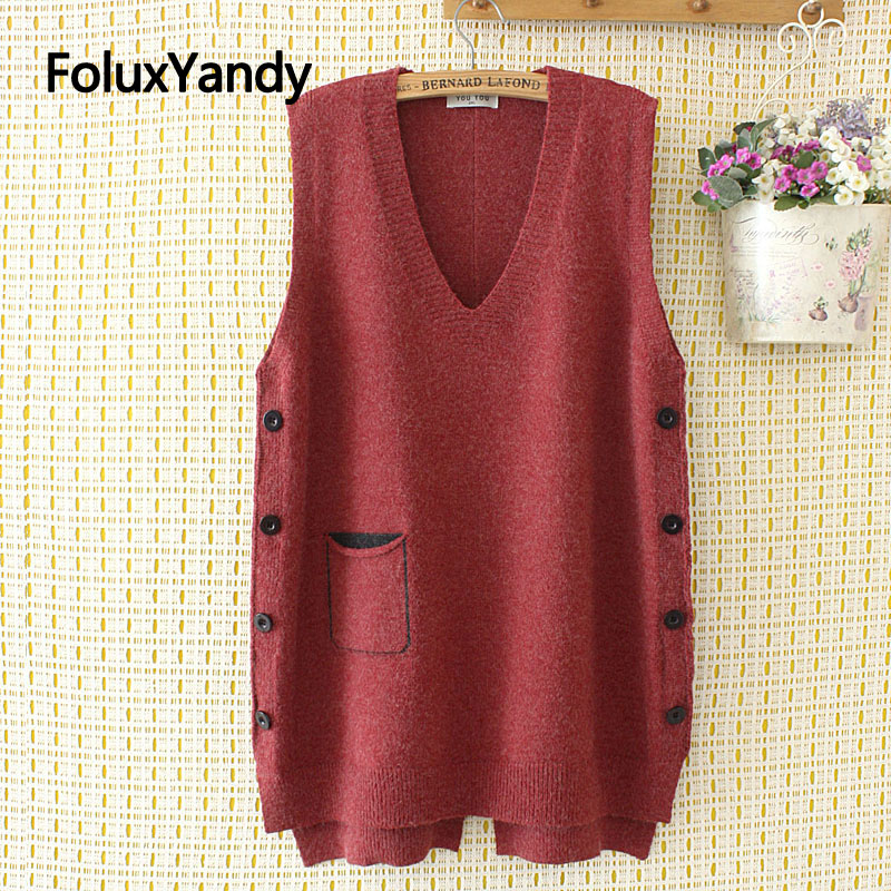 Buttons Knitted Vest Women Sleeveless Casual V-neck Plus Size Vests Red Blue Black KKFY4372