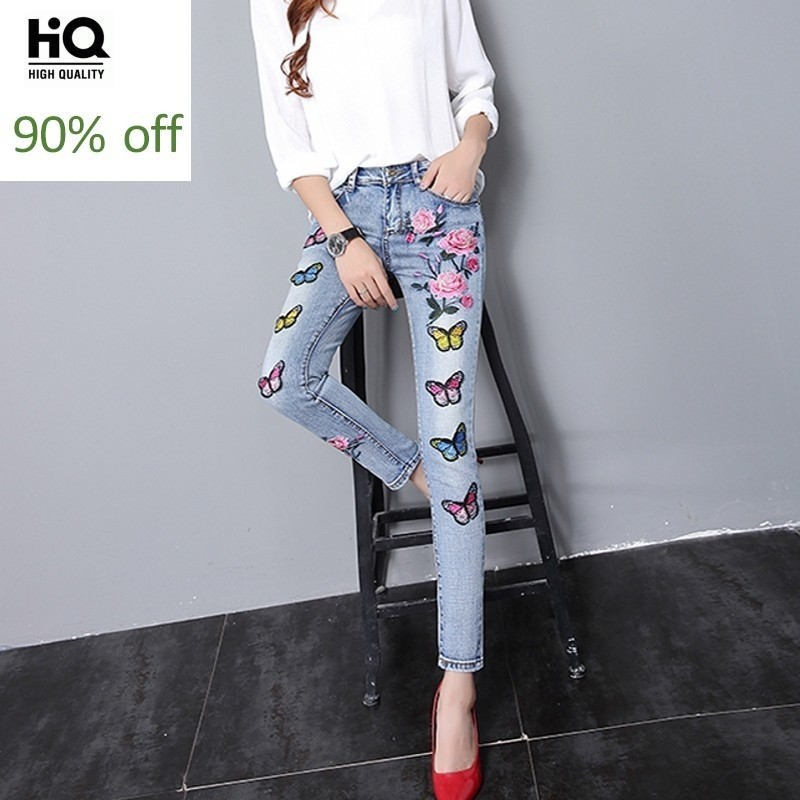 Personalized Chic Casual Women Denim Pants Butterfly Embroidery Flower Design Vintage Pencil Pants Korea Bleached Roupas Blue