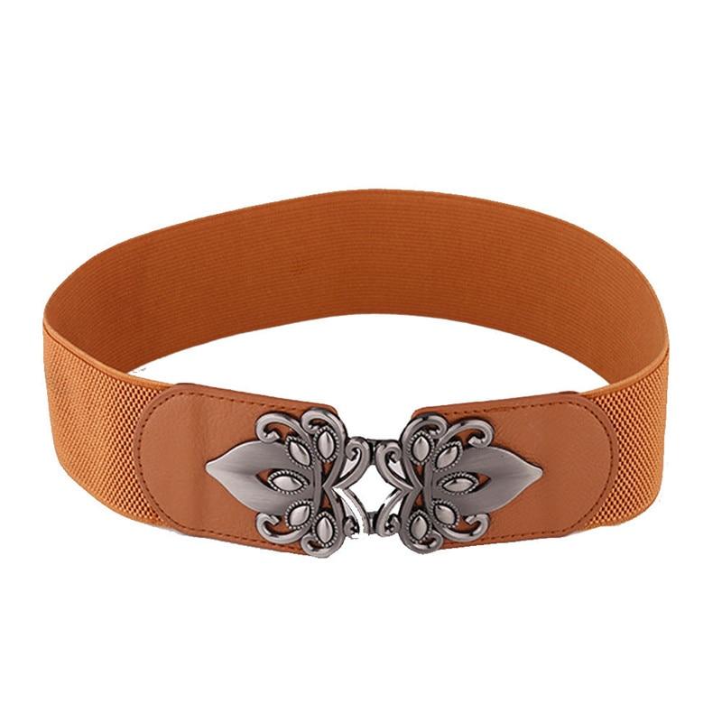 Women Lady Vintage Stretch Waist Belt Band Lady Elastic Wide Belt Buckle Newly