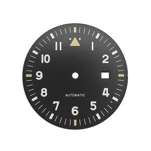 Image 1 - 35.5 Mm Volledig Lumed Zwart Groen Pilot Wijzerplaat Spitfire Stijl Fit Miyota8215 DG2813 ETA2824 Beweging Lichtgevende Steriele Wijzerplaat