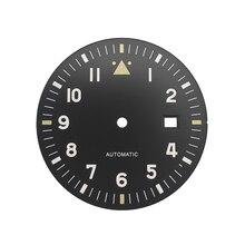 35,5mm Voll Lumed Schwarz Grün Pilot der Uhr Zifferblatt Spitfire Stil Fit Miyota8215 DG2813 ETA2824 Bewegung Leucht Sterile Zifferblatt