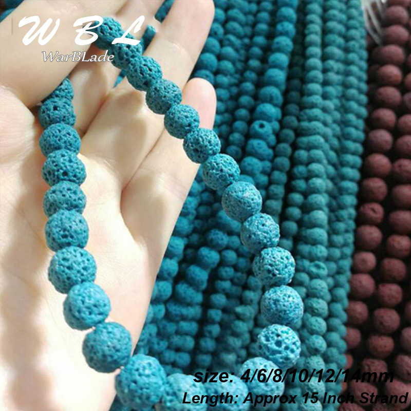 4 6 8 10 12 14mm naturalne wulkaniczne koraliki niebieski skały lawy okrągłe luźne kamień koraliki do naszyjnik DIY bransoletka tworzenia biżuterii