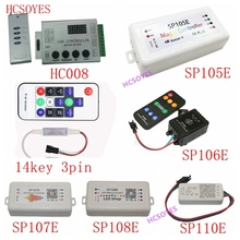 SP110E SP105E SP108E SP106E SP107E 14key 3pin HC008 Music Controller WS2812B Bluetooth SK6812 RGB/RGBW APA102 WS2811 led strip
