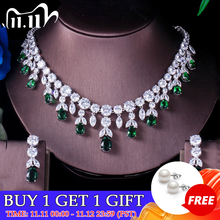 ThreeGraces Luxury Green CZ Stone Earrings Necklace Set Brilliant Big Long Drop Wedding Bridal Dress Jewelry Set for Women JS256