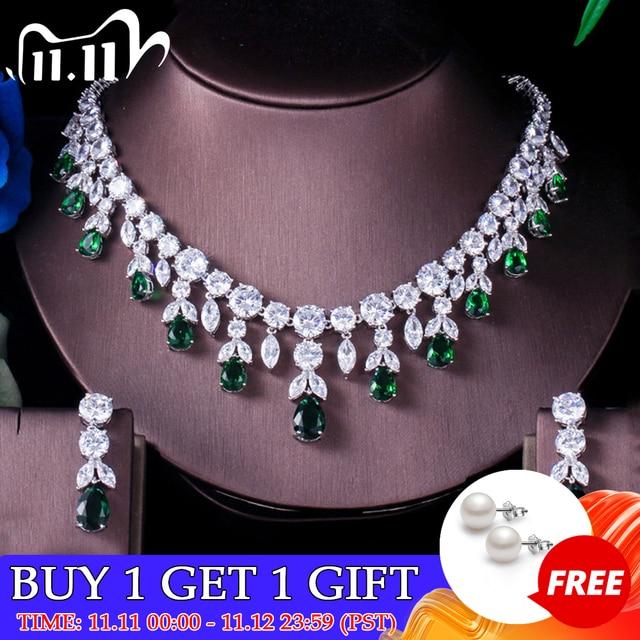 ThreeGraces Luxury Green CZ Stone Earrings Necklace Set Brilliant Big Long Drop Wedding Bridal Dress Jewelry Set for Women JS256