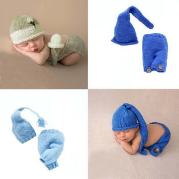 Baby Photo Props Newborn Photography Props Clothes Baby Hat Sets Newborn Photo Knitted Outfit Costume Photo Shoot Accessoies indian design newborn baby hat with diaper cover knitted photography props costume outfit funny infant beanies