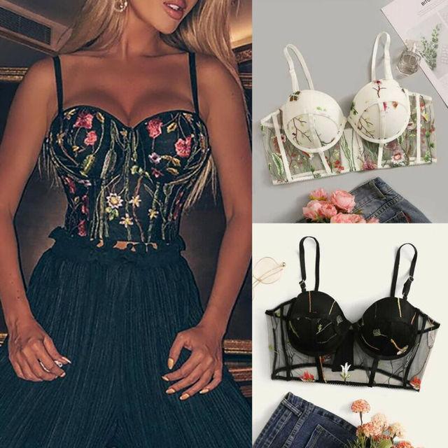 Women Crop Top Sheer Lace Bra Push Up Underwear Underwire Deep V Brassiere Lingerie Sleeveless T Shirt Floral Clothes T-shirt