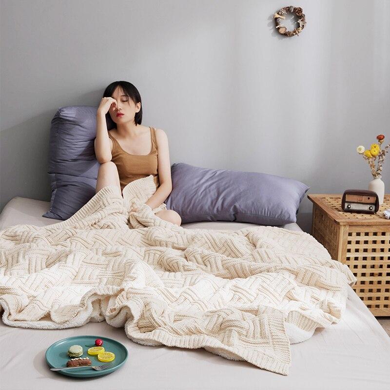 Повседневное одеяло для отдыха в офисе, Кашемировое Двухслойное вязаное одеяло для украшения дома, Женское зимнее теплое бежевое одеяло для дивана