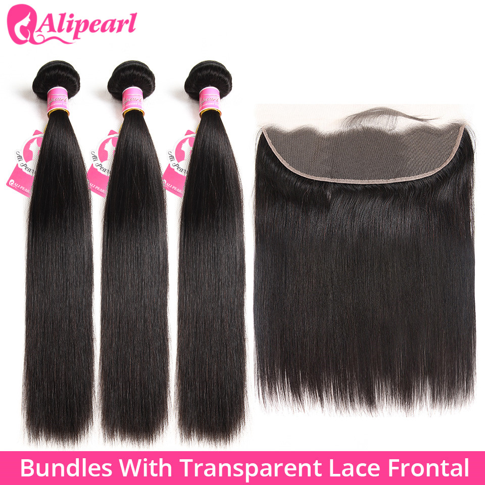 AliPearl Brazilian Straight Human Hair 3 Bundles With Transparent Lace Frontal Pre Plucked Ear To Ear Lace Frontal With Bundles
