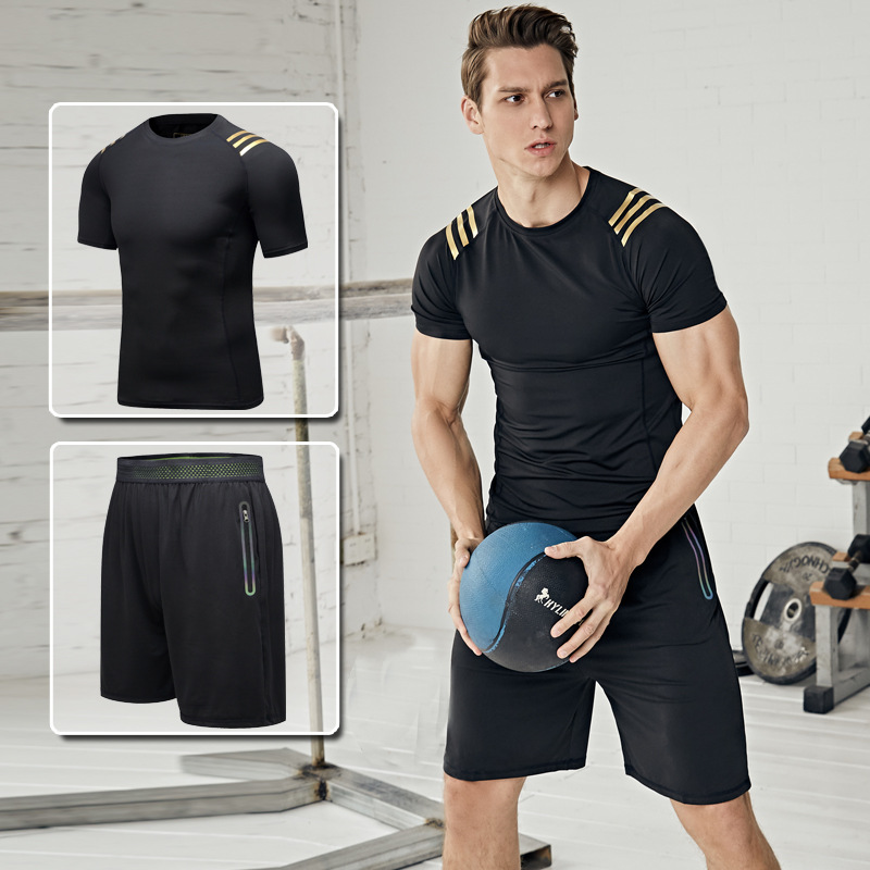 Summer Sports Set Men Running Fitness Suit Short Sleeve Two-Piece Set Quick-Dry Sports Tights Training Clothing