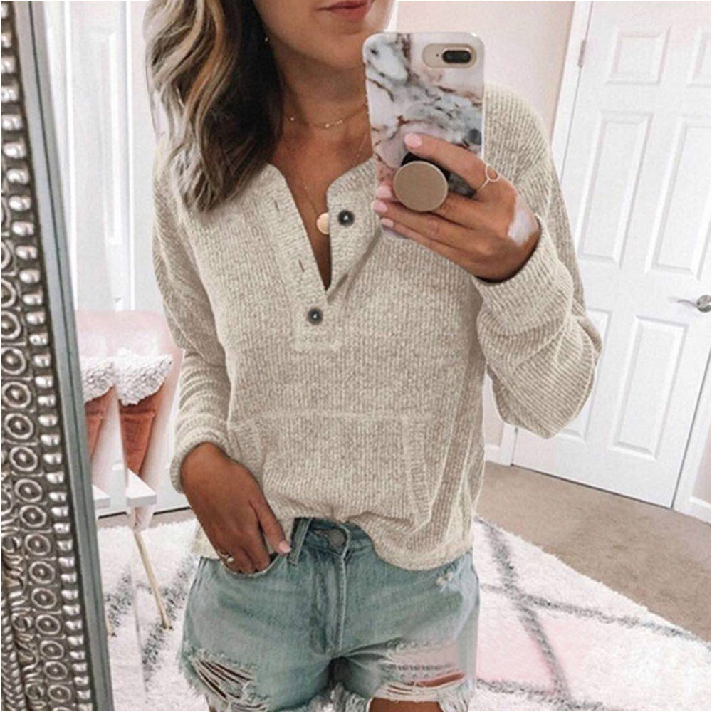 NIBESSER Autumn New Women Tops Solid Color Button V-Neck Knitted Sweaters Long Sleeve Casual Cotton Knitwear Pullover Lady Shirt