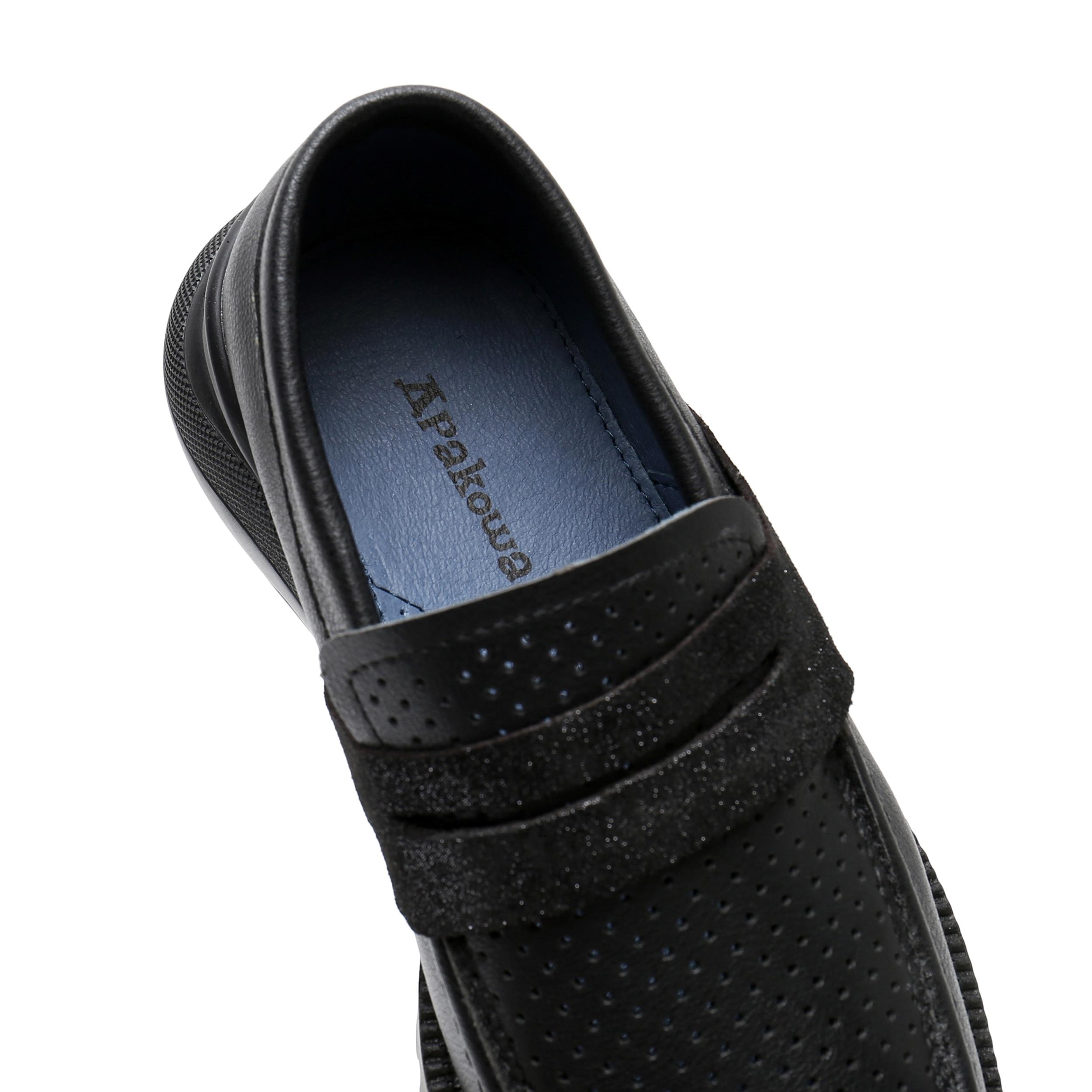 Apakowa meninos sapatos de couro genuíno deslizamento