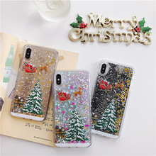 Winter Christmas Quicksand Phone Case Coque For iPhone 6 6s 7 8 Plus X XS XR XSMAX Flash Liquid Glitter Transparent Back Cover