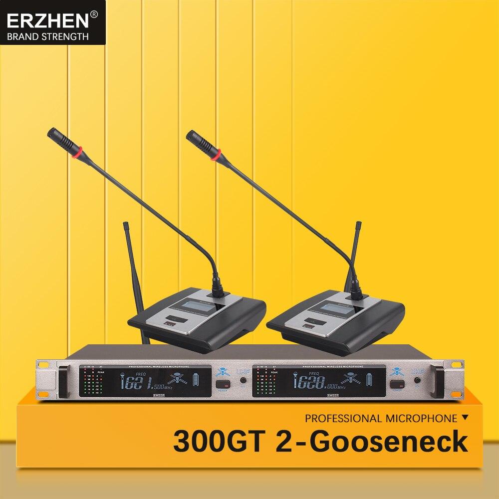 Système de Microphone sans fil 300GT Microphone professionnel 2 canaux UHF dynamique professionnel 2 conférence col de cygne bureau