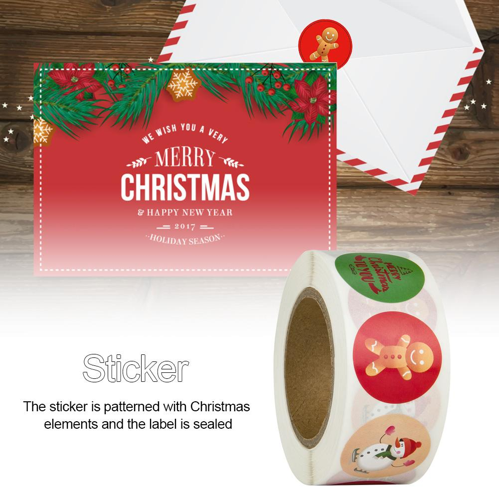 500Pcs/Roll Christmas Envelope Seal Sticker Gift Label Stickers Xmas Decoration For Home Christmas Decoration Supplies