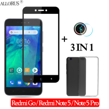 3-in-1 Case + Camera Tempered Glass For Xiaomi Redmi Go Screen Protector Note 5 Full cover redmi go protective