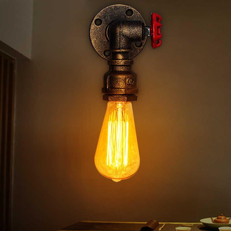 Beste E27 Vintage Wasser Rohr Wand Lampe Wasserhahn Form Dampf Punk Loft Industriellen Eisen Rost Retro Home Bar Decor Beleuchtung leuchte