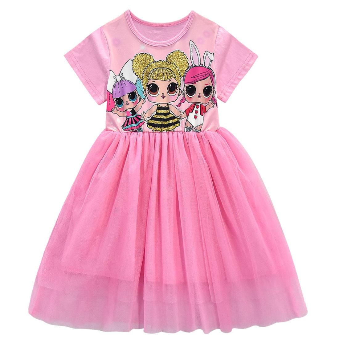 Girls Lol Dress Toddler Baby Lol Doll Clothes Kids Cartoon Print Princess Dress Children Short Sleeve Birthday Vestido for Girl 3