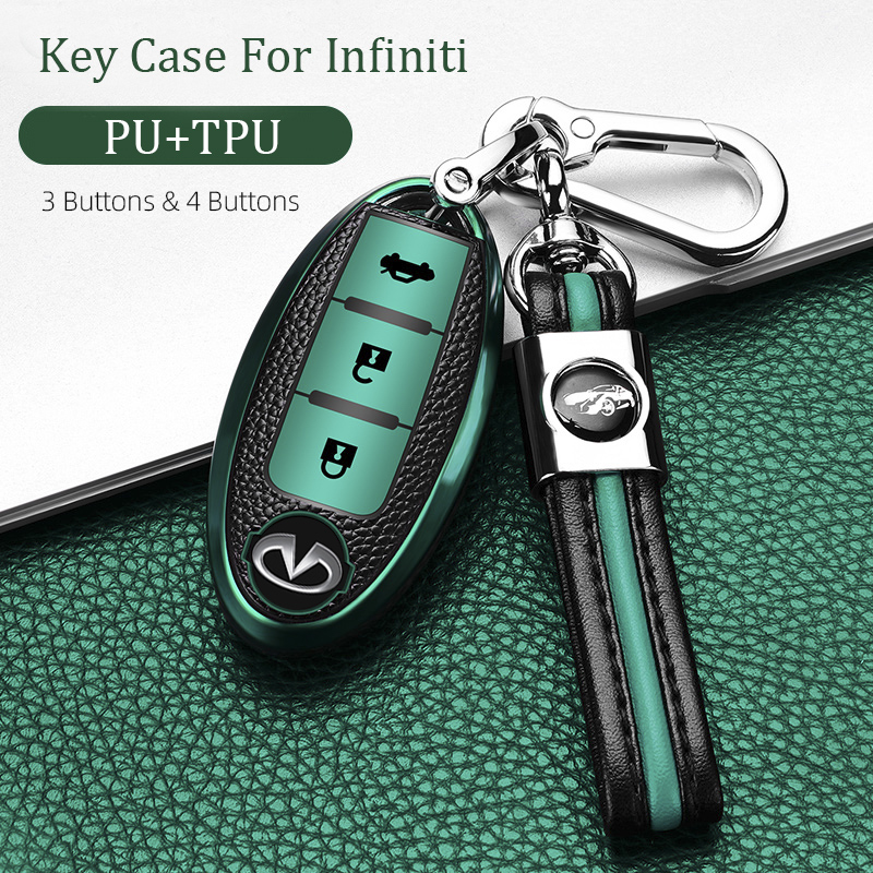 Car Key Case Cover For Infiniti FX35 QX60 G35 G37 EX FX Q60 QX50 QX70 Smart Remote Keychain Key Chain FOB TPU PU Bag