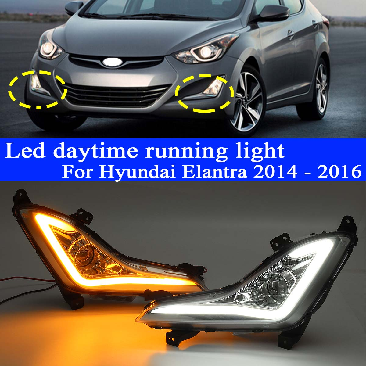 Pair DRL Daytime Running Light Fog Light Lamp For Hyundai Elantra 2014 2015 2016