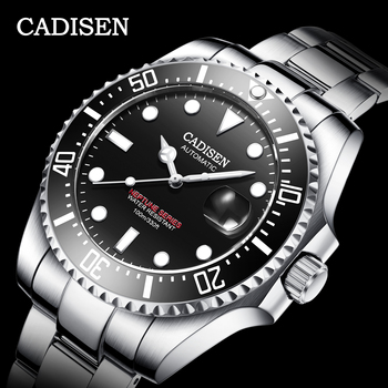 CADISEN Japan Mechanical Movement Watch Men 100M Waterproof Top Brand Automatic Ceramics Business Sport Relogio Masculino - discount item  44% OFF Men's Watches