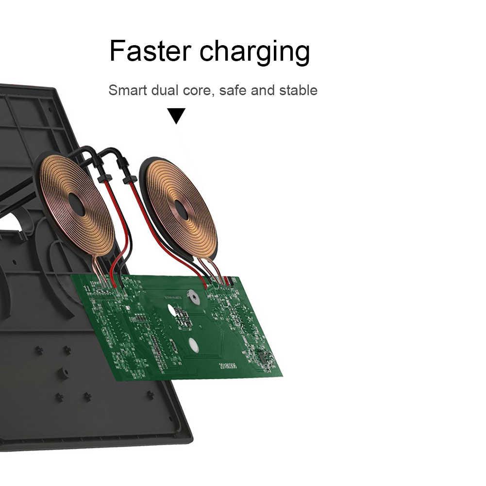 Carro montado placa de eficiência em forma mais estável rápido sem fio fácil operação automática dupla ligação carregador telefone para tesla modelo 3