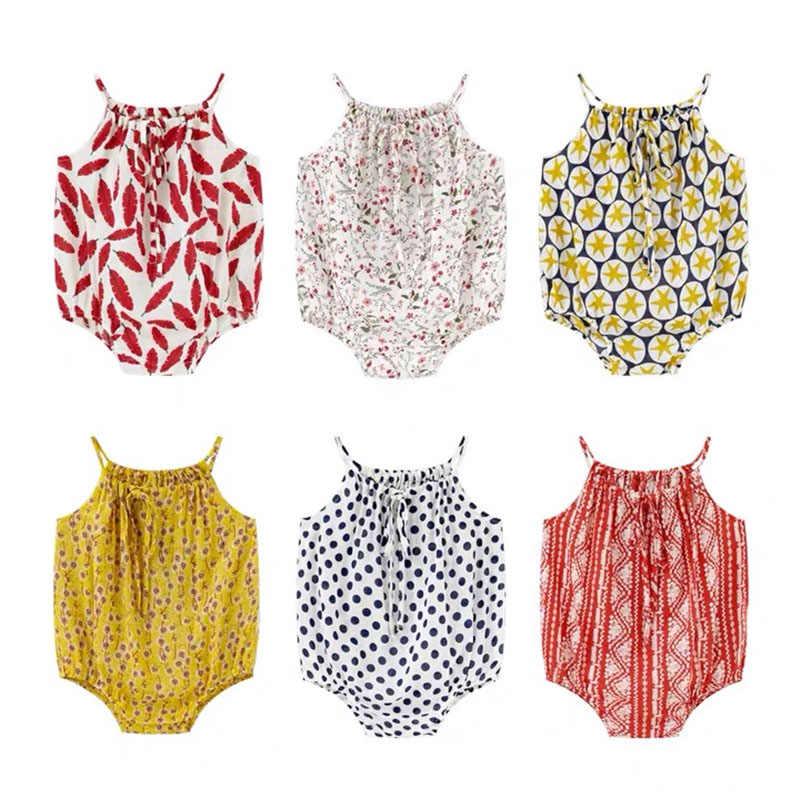 Noworodka pajacyki dziewczynka ubrania bez rękawów Backless lato dziewczynka kombinezon Casual Sunsuit śliczne odzież bawełniana dla 0-2Y dzieci