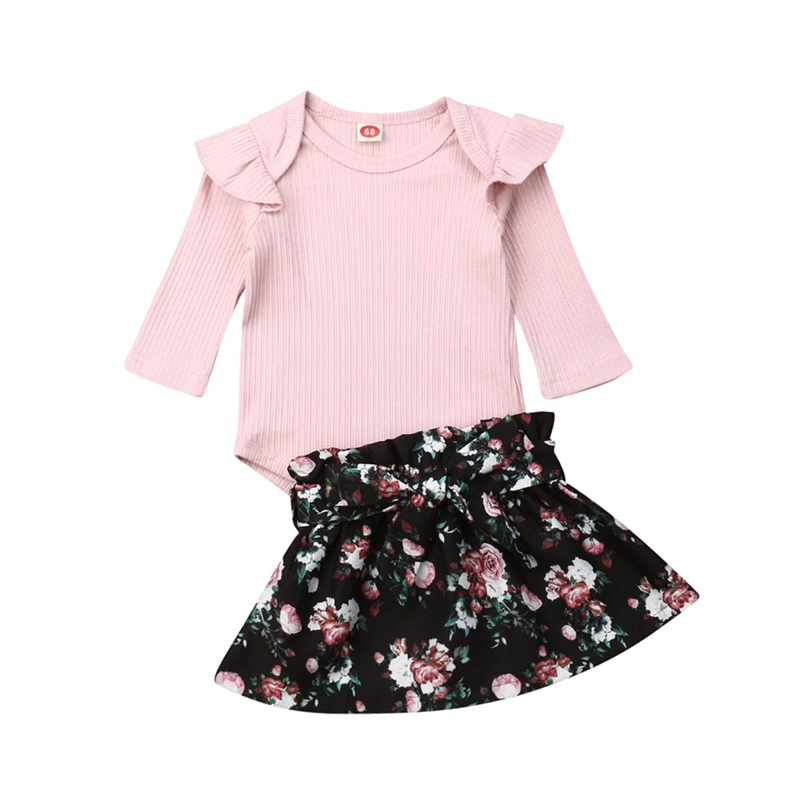 2019 New Products Toddler Kids Baby Girl Infant Clothes Girl Set Autumn Ruffle Romper Tops Floral Print Skirt Outfits 0-24M