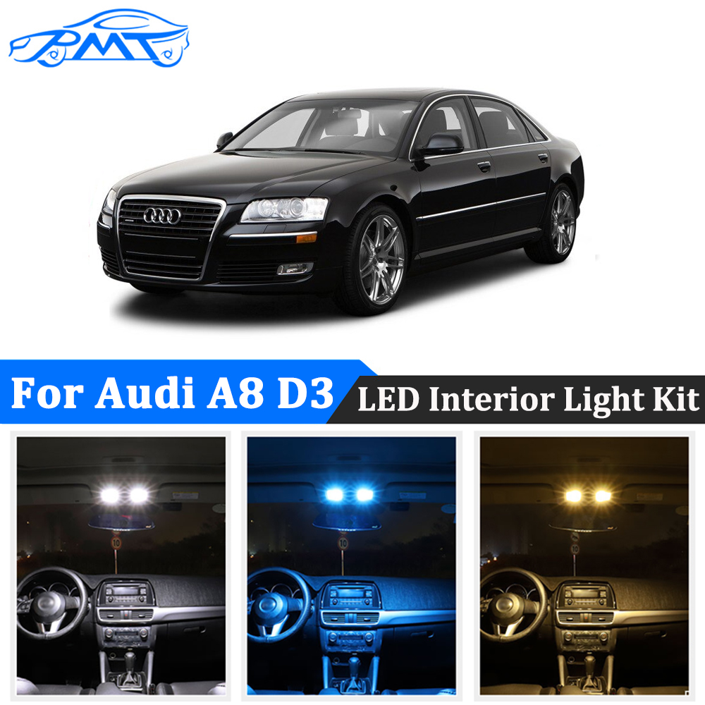 BMT 24Pcs Car <font><b>LED</b></font> Interior Light Kit Canbus For <font><b>Audi</b></font> <font><b>A8</b></font> S8 <font><b>D3</b></font> 4E (2003-2010) <font><b>led</b></font> Dome Map Lamp 100% No Error Plug and Play image