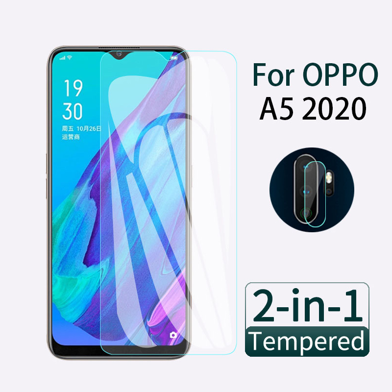 2 In 1 Screen Protector Full Cover Protective Glass For OPPO A5 2020 Back Camera Len Safety Glass On Oppo A5 2020 Tempered Glas