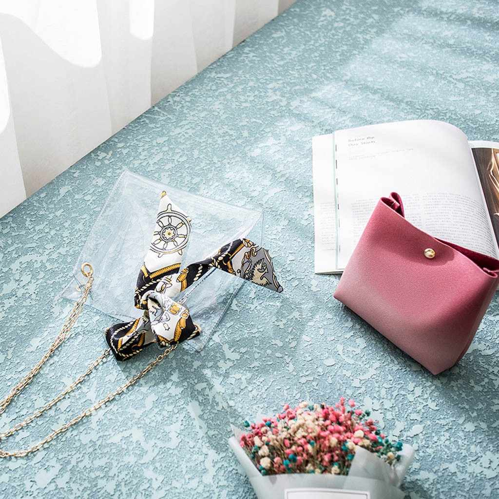 ผู้หญิงกระเป๋าใสวุ้น Letter กระเป๋าสะพาย Lady Leisure กระเป๋า Femme ใสโปร่งใส PVC Candy สี Messenger กระเป๋า