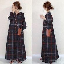 Женское длинное свободное платье в клетку повседневное однобортное