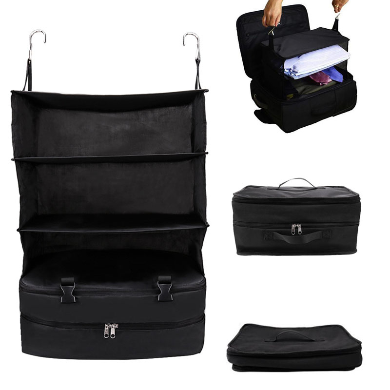Portable Luggage Hanging Travel Cubes For Suitcase Shelves 3 Layer Foldable Travel Clothes Storage Organizer Suitcase Container