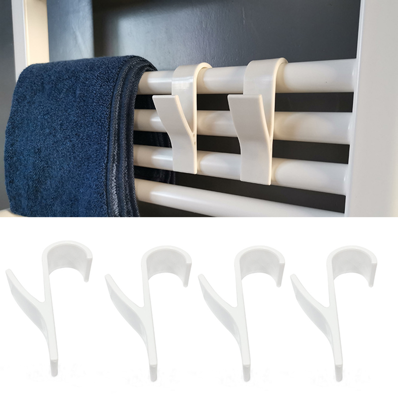 6pcs High Quality Hanger For Heated Towel Radiator Rail Bath Hook Holder Clothes Hanger Percha Plegable Scarf Hanger White