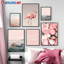 Rose Flower Mountain Sea Beach Flamingo Wall Art Canvas Painting Nordic Posters And Prints Pictures For Living Room Decor