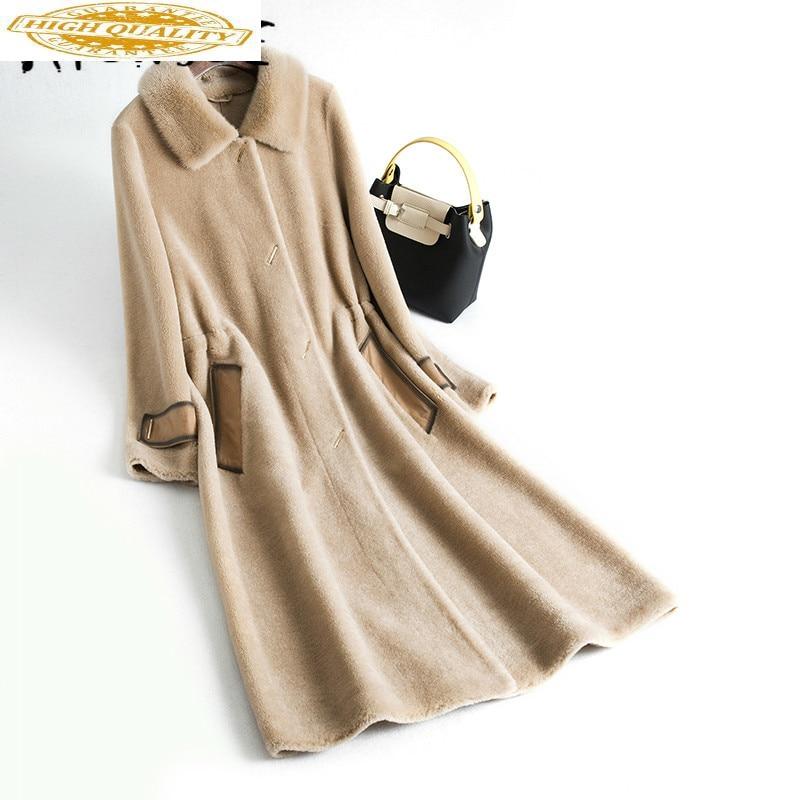 2020 New Real Fur Coat Women Winter Jacket Sheep Shearing 100% Wool Fur Coats Female Korean Mink Fur Collar YY2006