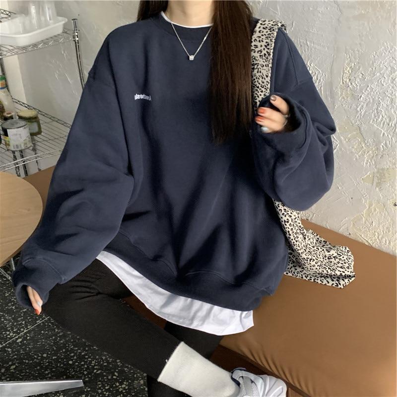 Новинка Осень-зима 2021 пуловер с буквами kpop модная Корейская плюшевая Женская Толстовка темно-серая Черная Женская Толстовка m-xxl
